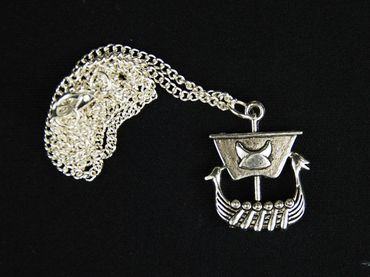 Viking Sailing Ship Necklace Boat Miniblings 45cm Viking Ship Silver – Bild 3