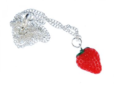 Strawberry Necklace Strawberry Semi Flat Miniblings Necklace 45cm Silver – Bild 1
