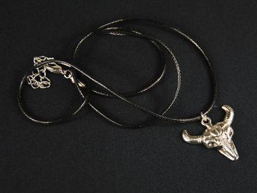 Ochsenschädel Kette Western Cowboy Miniblings Halskette 50cm Ochse Leder – Bild 3