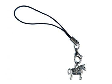 Dalapferd Handyanhänger Miniblings Pferd Handyschmuck Dala Pferdchen silber – Bild 1