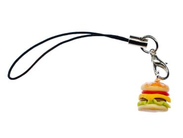 Hamburger Mobile Phone Charm Miniblings Mobile Phone Jewellery Hamburger Cheeseburger 12mm – Bild 1