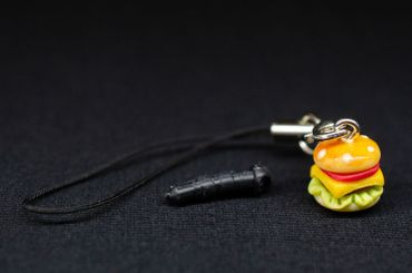Hamburger Mobile Phone Charm Miniblings Mobile Phone Jewellery Hamburger Cheeseburger 12mm – Bild 3