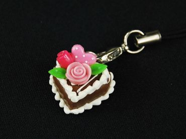 Gingerbread Heart Mobile Phone Charm Miniblings Mobile Phone Jewellery Cake Roses Heart – Bild 3