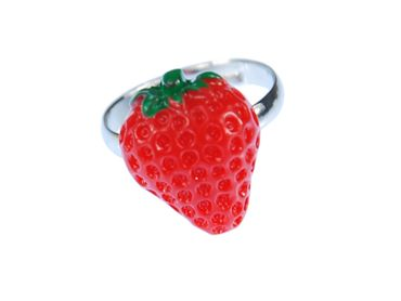 Strawberry Strawberry Ring Miniblings Fruits Strawberry Red Green Half Flat – Bild 1