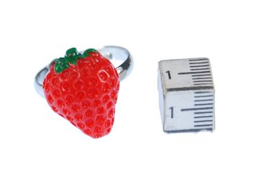 Strawberry Strawberry Ring Miniblings Fruits Strawberry Red Green Half Flat – Bild 3