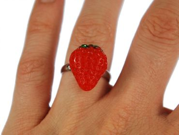 Strawberry Strawberry Ring Miniblings Fruits Strawberry Red Green Half Flat – Bild 4