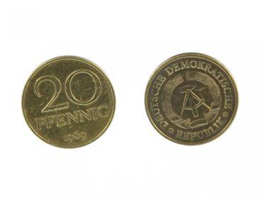 20 Pfennig DDR Manschettenknöpfe Miniblings Münzen Manschetten 20 Pfennig gold – Bild 1