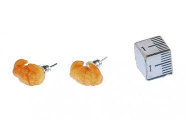 Croissant Ohrstecker Miniblings Stecker Ohrringe Gebäck Frühstück Croissant beige – Bild 1