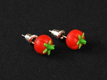 Tomaten Ohrstecker Miniblings Stecker Ohrringe Gemüse Tomaten Mini 3D rot grün – Bild 3