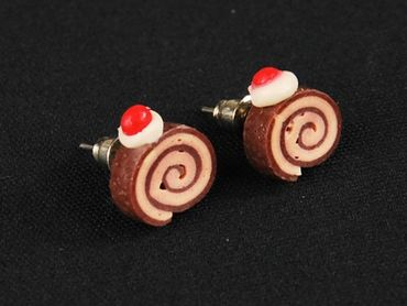 Biscuit Role Earrings Ear Studs Earstuds Miniblings Cakes Biscuit Mini Brown – Bild 3