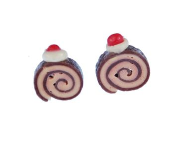 Biscuit Role Earrings Ear Studs Earstuds Miniblings Cakes Biscuit Mini Brown – Bild 1
