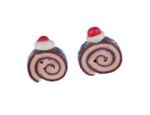 Biscuit Role Earrings Ear Studs Earstuds Miniblings Cakes Biscuit Mini Brown 001