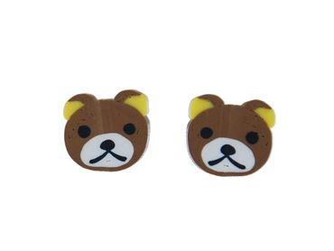 Teddy Kopf Earrings Ear Studs Earstuds Miniblings Teddy Bear Face Mini Brown – Bild 1