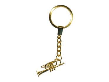 Cornet Key Ring Miniblings + Box Gold Plated Trumpet Flugelhorn – Bild 2