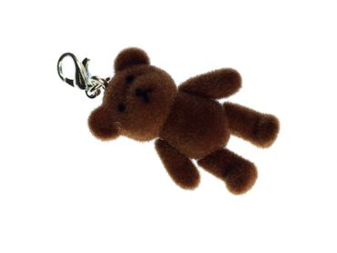 Teddy Bear Charm For Bracelet  Wristlet Miniblings Velvety Flock DARK Brown – Bild 1