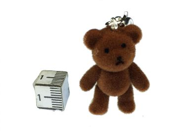 Teddy Bear Charm For Bracelet  Wristlet Miniblings Velvety Flock DARK Brown – Bild 2