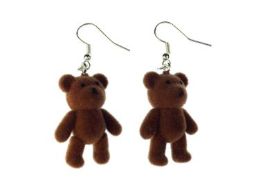 Teddy Bear Earrings Miniblings Teddy Bear Teddy Bear Velvety Flock DARK Brown – Bild 3