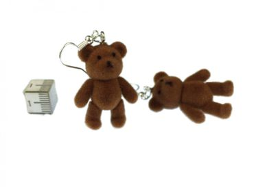 Teddy Bear Earrings Miniblings Teddy Bear Teddy Bear Velvety Flock DARK Brown – Bild 4