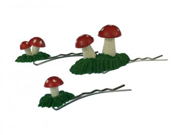 Mushrooms Set Of 3 Hair Clip Hair Pin Miniblings Fly Agaric Toadstoole 3D Red Green – Bild 1