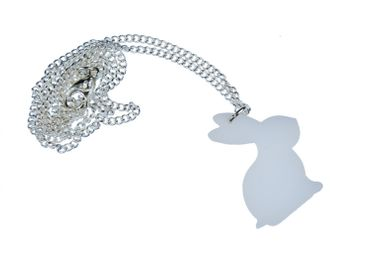 Rabbit Necklace Miniblings 45cm Rabbit White Rabbit Acrylic White – Bild 2