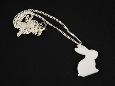 Rabbit Necklace Miniblings 45cm Rabbit White Rabbit Acrylic White – Bild 1