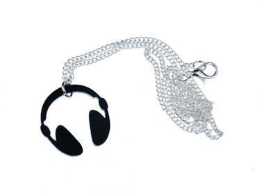 Kopfhörer Kette Halskette Miniblings 45cm DJ Musik Headphones Acrylglas schwarz – Bild 1