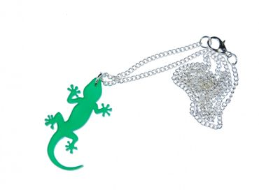 Gekko Kette Halskette Miniblings 60cm Salamander Eidechse Gekko Acrylglas grün – Bild 1