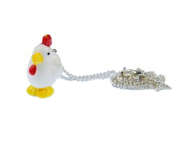 Chicken Necklace Miniblings 45cm Rooster Chicken 3D White With Red Comb – Bild 2