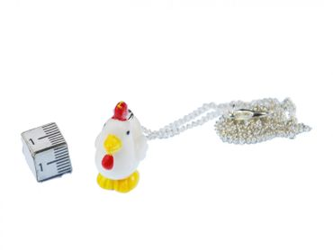 Chicken Necklace Miniblings 45cm Rooster Chicken 3D White With Red Comb – Bild 3