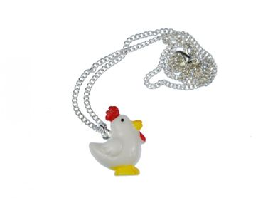 Chicken Necklace Miniblings 45cm Rooster Chicken 3D White With Red Comb – Bild 1
