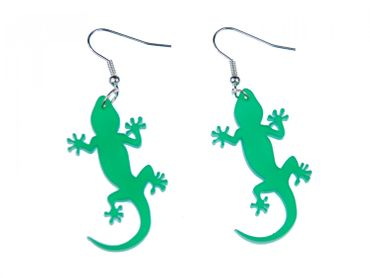 Gekko Earrings Miniblings Salamander Lizard Gekko Acrylic Green – Bild 1