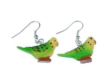 Budgie Earrings Miniblings Pet Bird Budgie Green – Bild 1