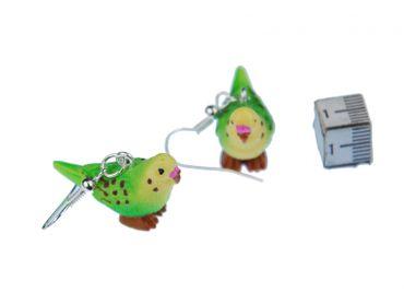 Budgie Earrings Miniblings Pet Bird Budgie Green – Bild 3
