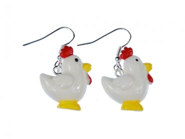 Chicken Earrings Miniblings Bird Farm Rooster Red Comb Easter – Bild 1