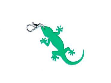 Gekko Charm Anhänger Bettelanhänger Miniblings Salamander Gekko Acrylglas grün – Bild 1