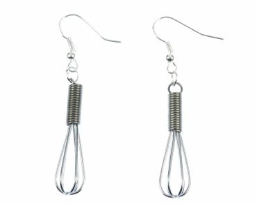 Whisk Earrings Miniblings Whisk Food Cook Kitchen Cooking Silver – Bild 2