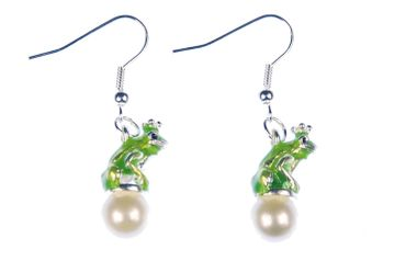 Frog King Earrings Princess Miniblings Frog Crown Enamel Pearl – Bild 3