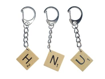 Scrabble Key Chain Key Ring Miniblings Pendant Initial Request Letter Customized Initial ABC – Bild 1