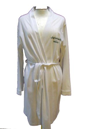 Bathrobe Print Dressing Gown Sauna Coat Sauna Chronic Tired White Size M – Bild 5