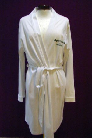 Bathrobe Print Dressing Gown Sauna Coat Sauna Chronic Tired White Size M – Bild 7