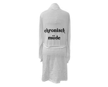 Bathrobe Print Dressing Gown Sauna Coat Sauna Chronic Tired White Size L – Bild 1