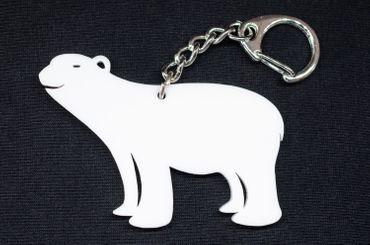 Eisbär Acrylglas Schlüsselanhänger Miniblings Schlüsselring Eisbär Acryl LC weiß – Bild 1