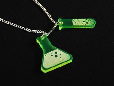 Reagenzglas und Kolben Acrylglas Kette Halskette Miniblings 80cm Reagenzgläser – Bild 1