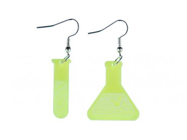 Test Tube And Flask Earrings Miniblings Chemistry Acrylic LC Neon Green – Bild 1