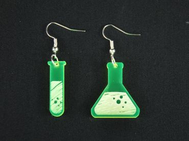 Test Tube And Flask Earrings Miniblings Chemistry Acrylic LC Neon Green – Bild 3