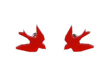 Schwalbe klein Ohrstecker Miniblings Vogel Vögel Schwalben Acrylglas Lasercut rot – Bild 1