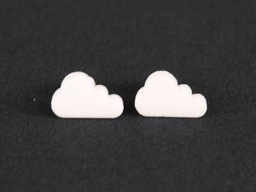 Cloud Small Earrings Ear Studs Earstuds Earrings Miniblings Sky Acrylic Laser Cut White – Bild 3