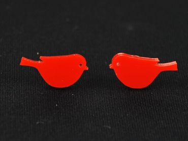 Bird Small Earrings Ear Studs Earstuds Miniblings Bird Sparrow Tit Laser Cut Red – Bild 3