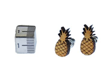 Ananas Ohrstecker Miniblings Ohrringe Pineapple Obst Ananas Holz gefräst braun – Bild 1