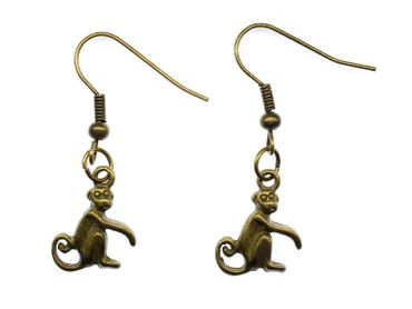 India Langurs Monkey Keys Earrings Miniblings Metal Bronze Indian Monkey – Bild 1